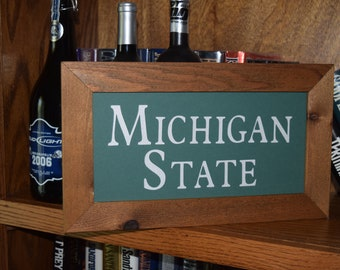 FREE SHIPPING Man cave Michigan State custom lettered sign solid cedar framed oak finish country rustic bar display
