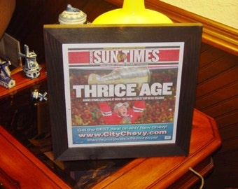 FREE SHIPPING Chicago Blackhawks framed newspaper 2015 Stanley Cup solid cedar Sun Times dark finish country rustic display