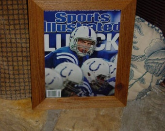 FREE SHIPPING Indianapolis Colts Andrew Luck custom framed solid cedar original 2012 Sports Illustrated magazine oak finish