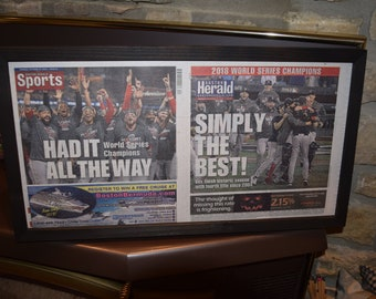 FREE SHIPPING 2018 Boston Red Sox original framed complete newspaper World Series Champions Boston Herald