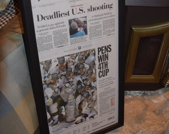 FREE SHIPPING 2016 Pittsburgh Penguins Stanley Cup Champions Custom framed Pittsburgh Post Gazette newspaper deep profile frame