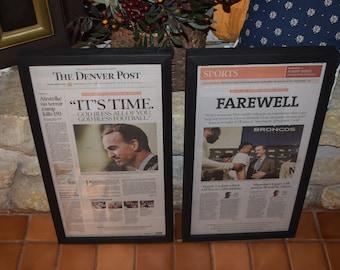 Peyton Manning Denver Broncos framed 2 set newspapers retirement farewell solid rustic cedar dark finish man cave