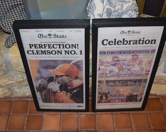 FREE SHIPPING 2 Clemson University framed original newspapers 2018 NCAA Football Champions dark finish The State