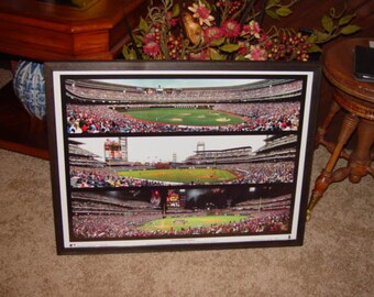 FREE SHIPPING Large Philadelphia Phillies panoramic collage print custom framed solid cedar old and new stadiums dark finish