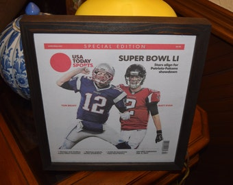 FREE SHIPPING New England Patriots Tom Brady custom framed original complete newspaper Super Bowl LI champions