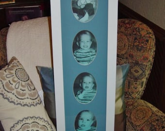 FREE SHIPPING Large solid wood 8x30  blue matted baby boy nursery picture photo display frame white finish