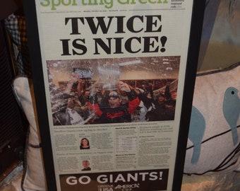 FREE SHIPPING 2012 San Francisco Giants original newspaper framed solid rustic cedar World Series Champions Sporting Green