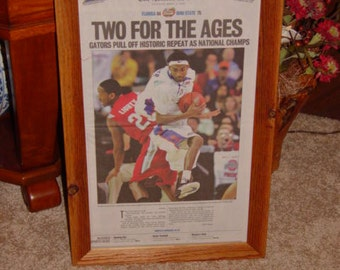 FREE SHIPPING University of Florida custom framed solid rustic cedar original newspaper 2007 NCAA champions