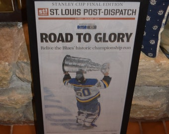 FREE SHIPPING St Louis Blues 2019 Stanley Cup Champions Custom framed original complete newspaper Road to Glory