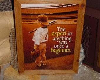 FREE SHIPPING Motivational Baseball Little Leaguer custom framed print solid rustic cedar oak finish wall hanging display