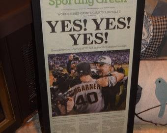 FREE SHIPPING 2014 San Francisco Giants original newspaper framed solid rustic cedar World Series Champions Sporting Green