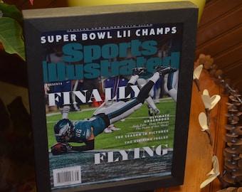 Philadelphia Eagles Special Sports Illustrated complete magazine custom framed solid cedar Super Bowl LII Champions  Ertz
