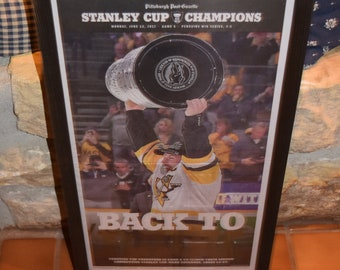 FREE SHIPPING  2017  Pittsburgh Penguins Stanley Cup Champions Custom original framed Pittsburgh Post Gazette newspaper