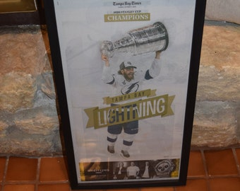 FREE SHIPPING Tampa Bay Lightning framed original newspaper 2020 Stanley Cup Champions solid rustic wood Times