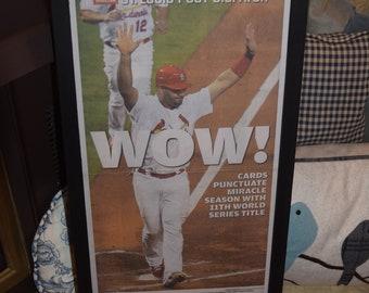FREE SHIPPING Man Cave St Louis Cardinals 2011 World Series Champions custom framed original newspaper