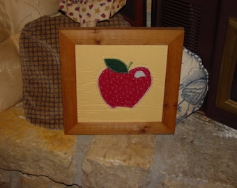 FREE SHIPPING Apple stitched quilt square unique custom framed solid cedar 12x12 oak finish country rustic wall hanging display