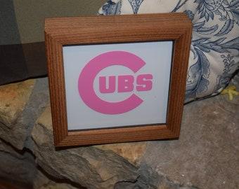 FREE SHIPPING Chicago Cubs Rare PINK Logo custom cedar framed display decal deep profile desk buddy