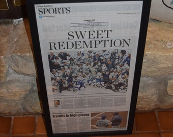 FREE SHIPPING Tampa Bay Lightning framed original newspaper 2020 Stanley Cup Champions solid rustic wood Sports Page