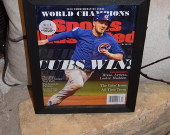 Chicago Cubs Special Sports Illustrated complete magazine 2 of 4 custom framed solid cedar 2016 World Series Champions  Kris Bryant