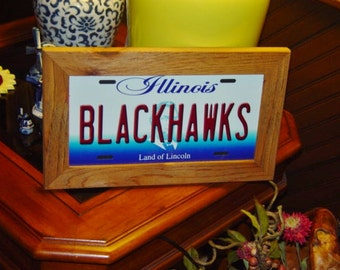 FREE SHIPPING Chicago Blackhawks Illinois State License Plate Sign Framed cedar 6x12 metal display sign