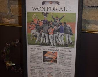 FREE SHIPPING Houston Astros 2017 World Series Champions Custom framed newspaper original Houston Chronicle mounted