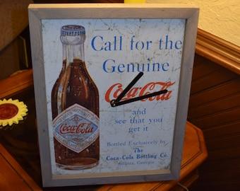 FREE SHIPPING Rare Coca Cola retro weathered metal sign clock custom framed solid rustic wood barn gray finish