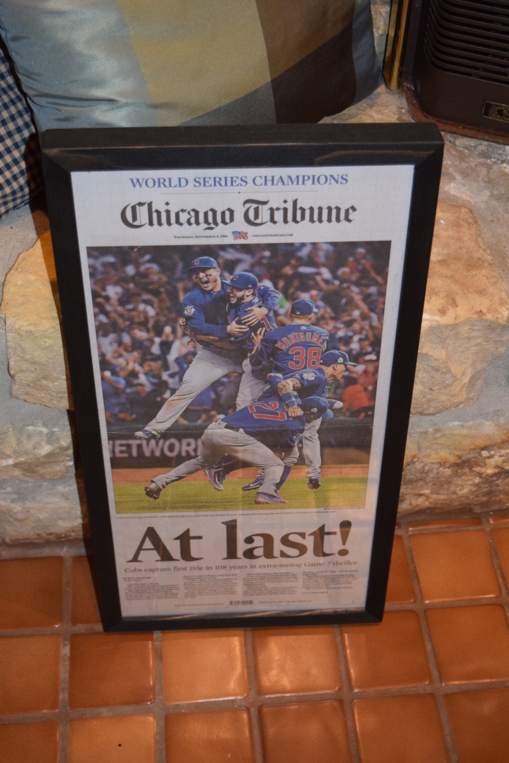 c585a37c44a FREE SHIPPING Chicago Cubs 2016 World Series Champions Custom framed  original newspaper complete paper mounted Chicago Tribune
