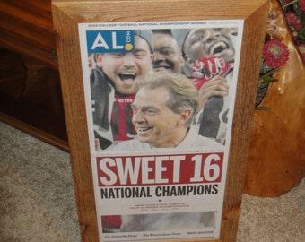 FREE SHIPPING Alabama Birmingham News framed newspaper 2015 Champions solid rustic cedar original Sports/Special Section