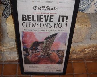 FREE SHIPPING Clemson University framed original newspaper solid cedar 2016 NCAA Football Champions The State