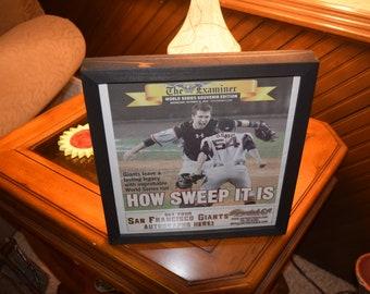 FREE SHIPPING 2012 San Francisco Giants custom framed solid cedar original newspaper World Series champions rustic dark finish