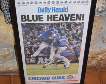 FREE SHIPPING 1st Edition Chicago Cubs 2016 World Series Champions Custom framed newspaper rustic solid cedar complete paper mounted