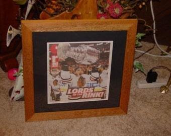 FREE SHIPPING Chicago Blackhawks 2010 Stanley Cup custom framed solid cedar NHL Champions original newspaper oak finish