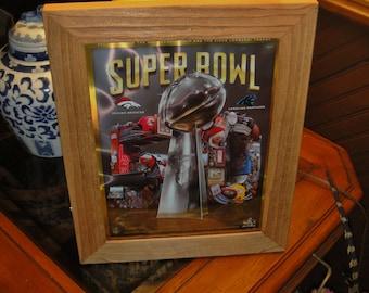 FREE SHIPPING Carolina Panthers framed cedar original game day Hologram Super Bowl 50 Program light oak finish