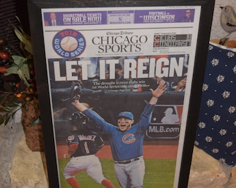 FREE SHIPPING Chicago Cubs 2016 World Series Champions Custom framed original newspaper Anthony Rizzo