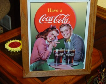 FREE SHIPPING Coca Cola custom framed solid cedar wood 15X18 man cave metal Young Couple sign oak finish country rustic wall hanging display