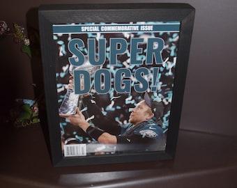 FREE SHIPPING Philadelphia Eagles Original Commemorative Issue Super Bowl LII complete magazine Deep Profile Frame Solid Cedar