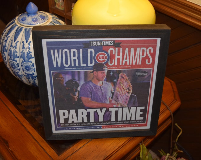 Featured listing image: FREE SHIPPING Chicago Cubs original newspaper complete 2016 Championship Edition custom framed Sun-Times Rizzo Cover