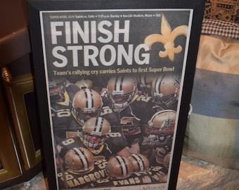 FREE SHIPPING New Orleans Saints custom framed solid rustic cedar original 2010 Super Bowl XLIV newspaper Finish Strong
