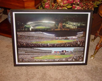 FREE SHIPPING Large New York Yankees panoramic collage print custom framed solid cedar old and new stadiums dark finish
