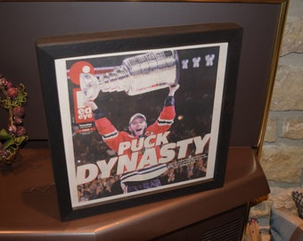 FREE SHIPPING Chicago Blackhawks framed complete original newspaper 2015 Stanley Cup  NHL Champions
