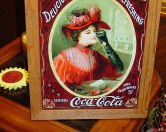 FREE SHIPPING Coca Cola custom framed solid cedar wood 15X18 man cave metal  Victorian Woman sign oak finish rustic wall hanging display