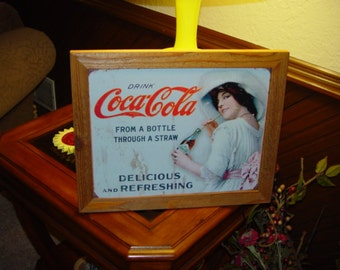 FREE SHIPPING Coca Cola custom framed solid cedar wood 15X18 metal victorian woman sign oak finish country rustic wall hanging display