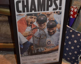 FREE SHIPPING Houston Astros 2017 World Series Champions Custom framed newspaper complete original Houston Chronicle mounted