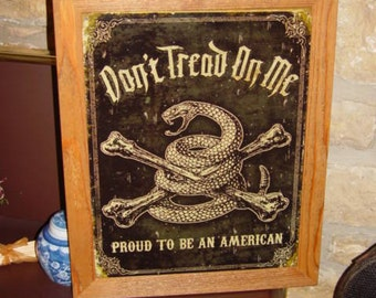 FREE SHIPPING Framed weathered Proud to be an American solid cedar wood 15X18 man cave metal sign oak finish rustic wall hanging display
