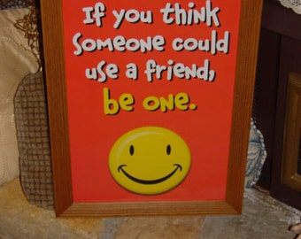 FREE SHIPPING Motivational framed print Happy Face poster solid rustic cedar oak finish classroom display wall hanging