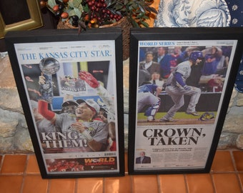 FREE SHIPPING 2 Set Kansas City Chiefs Royals framed complete newspapers Super Bowl LIV Champions 2015 World Series