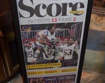 FREE SHIPPING New England Patriots framed complete original newspaper Super Bowl 53 Champions  The Boston Globe