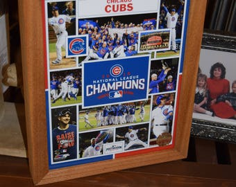 FREE SHIPPING Chicago Cubs custom framed 2016 National League Champions MLB Licensed Collage Photo Solid Rustic Cedar