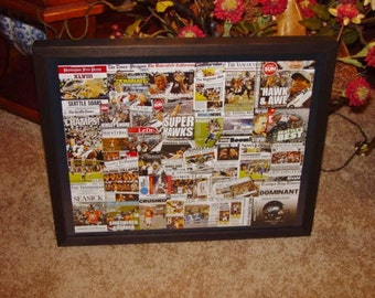FREE SHIPPING Seattle Seahawks Newspaper collage Super Bowl XLVIII Champions Deep Profile Custom Framed Solid Cedar