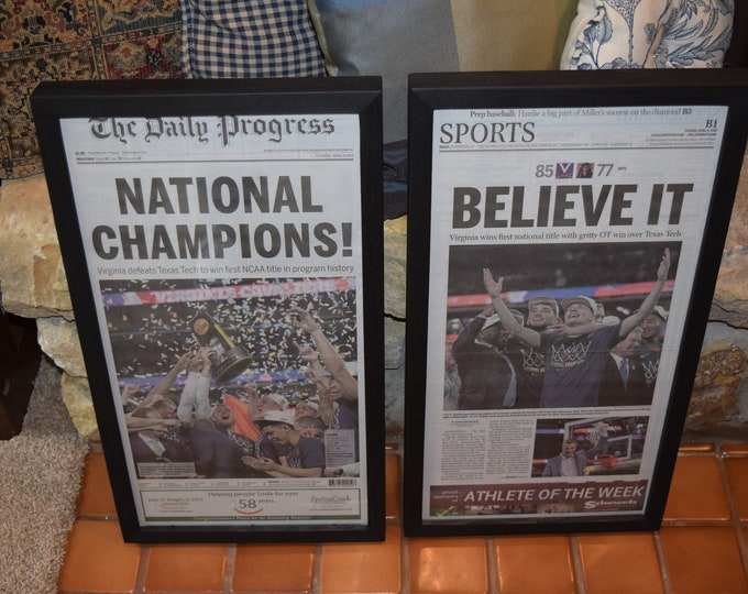 Featured listing image: FREE SHIPPING 2 University of Virginia framed original newspapers 2019 NCAA Basketball Champions dark finish